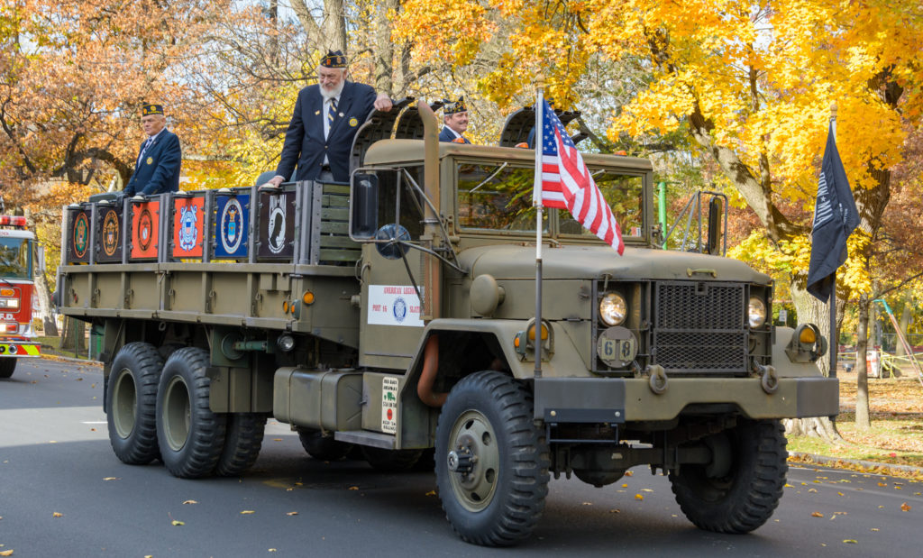 Veteran from the Slatington American Legion riding on a truck in the Carbon County Verterans Parade in Palmerton, PA