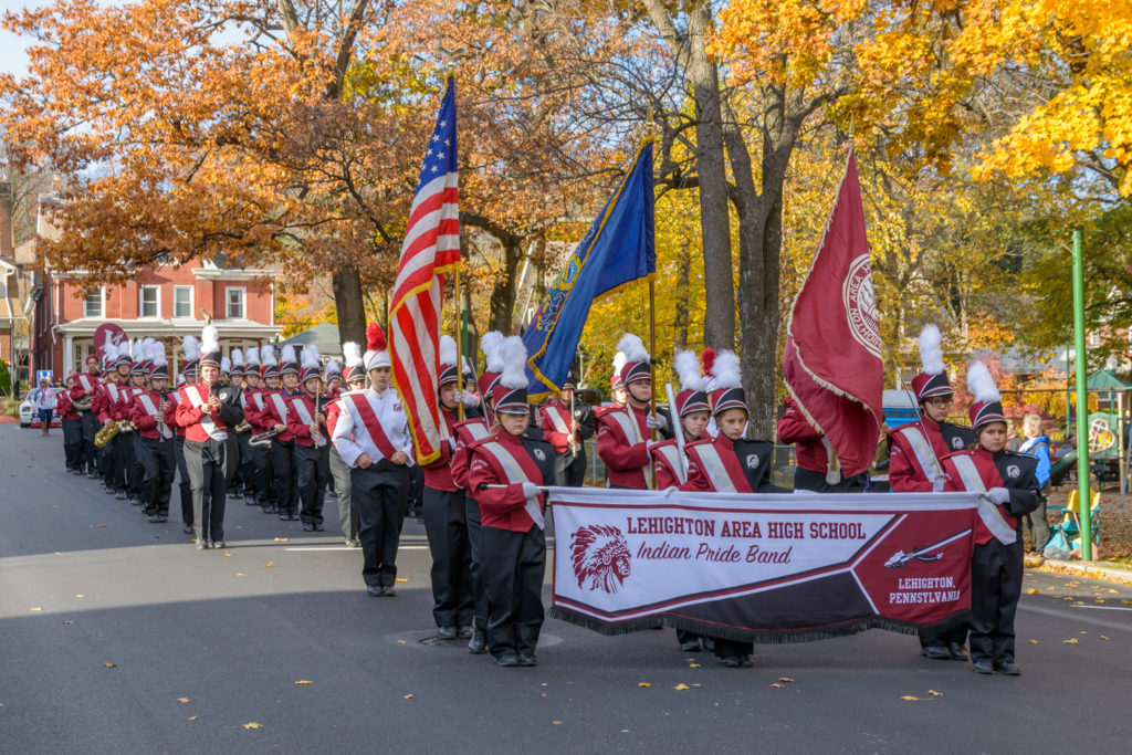 The Lehighton Indian Pride Band marching in the Carbon County Veterans Parade held in Palmerton, PA.